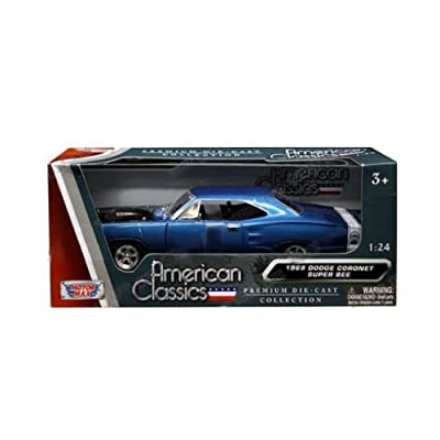 Dodge 1969 Coronet Super Bee Blue Metallic with Black Hood 1/24 Diecast Model Car by Motormax 73315: Toys & Games