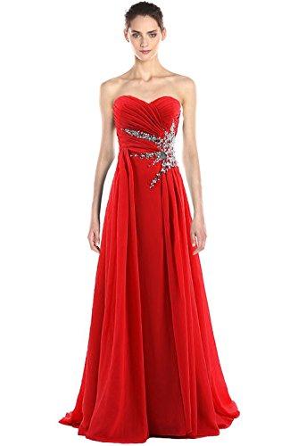 Medon's Women's Sweetheart Beading Chiffon Long Prom Dress M Red
