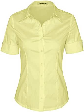 SUNNOW Womens Tailored Short Sleeve Basic Simple Button-down Shirt with Stretch
