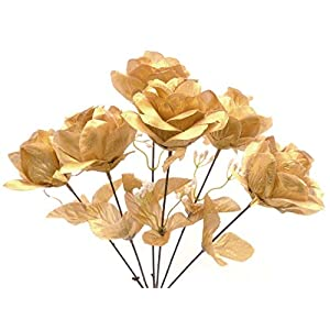 2 Bushes Open Rose Artificial Silk Flowers Bouquet 6-7203 Gold 48