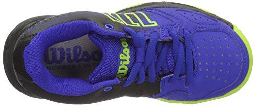 Wilson Wrs321830e105, Scarpe da Tennis Bambini Unisex, Blu (Blue Iris Wil / Black / Granny Green), 28/29 EU