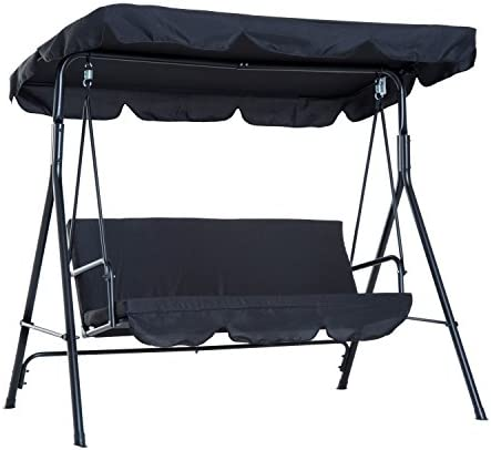 Outsunny 3-Person Porch Lawn Swing with Canopy, Outdoor Yard Glider Swing Chair with Stand, Black
