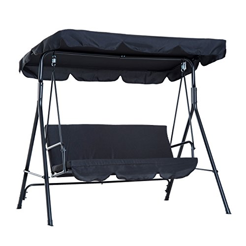 Outsunny 3-Person Steel Outdoor Porch Sling Fabric Swing Canopy with Stand