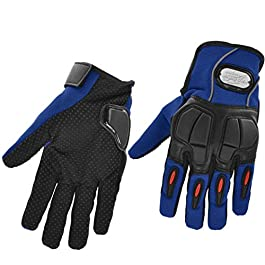 PITZO Probiker Full Finger Riding Gloves (Blue, XL)