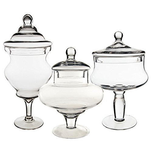 - CYS EXCEL Candy Jar, Glass Apothecary Jars, Set of 3, Candy Buffet Jars, Glass Jar with Lid, 3 Sizes. H-10, D-4
