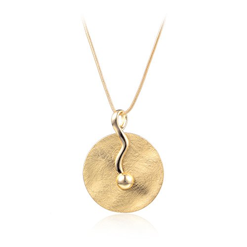 HONGYE Brushed Gold and Silver Disc Musical Note Pendant Necklace for Women - Brushed Silver Disc