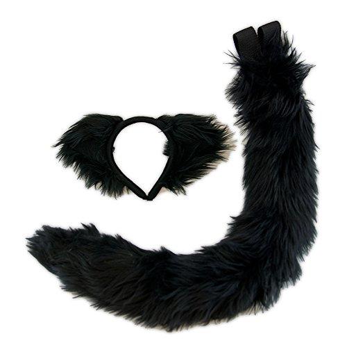 Pawstar Black Kitty Cat Ear Headband and Tail Plush Costume Set - All Black ()
