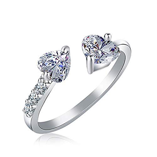 Windoson Stylish Zircon Ladies Ring Elegant Double Heart Crystal Open Ring Wedding Jewelry for Women Stocking Filler-It Can Be Adjustable (Silver) ()