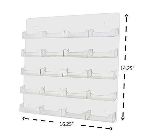 Marketing Holders Multi Pocket Wall Mount Business Card Display Holder New (Clear, 24 Pocket) by Marketing Holders