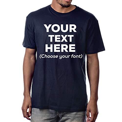 Custom T Shirts Design Your Own Customized Shirts | Personalized T Shirts Men or Women Unisex Soft Cotton (Navy, Medium)