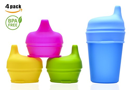 NEW 2017 Silicone Sippy Lids For Any Cup (4 Pack) No More Spilled Drinks! BPA-Free, SpillProof, Reusable and Suitable For Toddlers Babies Children Boys & Girls (Sippie Cups For Toddlers compare prices)