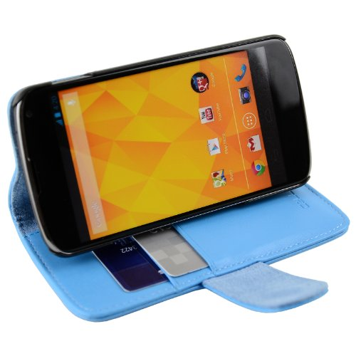 CellJoy Leather Wallet Credit Card Hard Kick Stand Case for LG Google Nexus 4 E960 [CellJoy Retail Packaging] (Teal Blue)