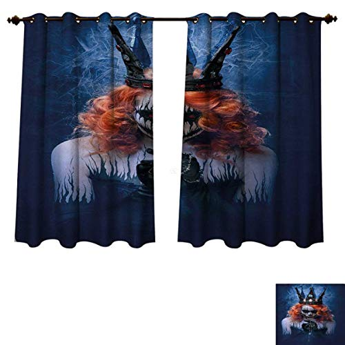 Anzhouqux Queen Bedroom Thermal Blackout Curtains Queen of Death Scary Body Art Halloween Evil Face Bizarre Make Up Zombie Drapes for Living Room Navy Blue Orange Black W72 x L63 inch]()