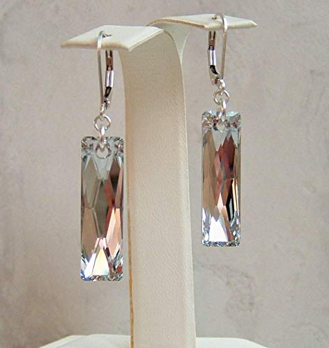 Colorless Mirror Crystal Rectangle Baguette Sterling Silver Leverback Earrings Gift Idea