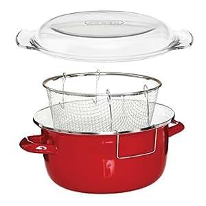 Premier Houseware 5 L Deep Fryer with Pyrex Lid - 16 x 33 x 27 cm, Red by Premier Housewares