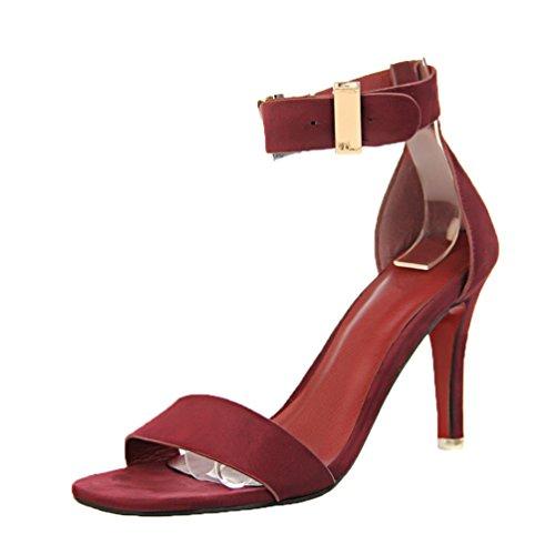 Hooh Alla Toe Metallo Sandali Rosso In Vino Caviglia Donna Fibbia Peep Cinturino SnZXSar