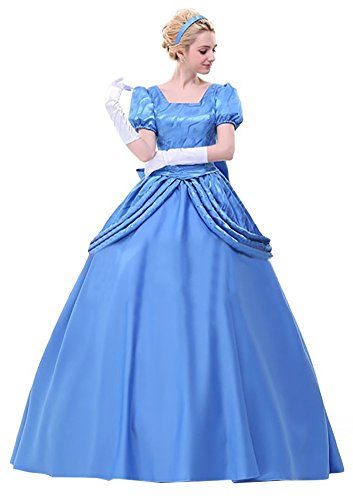 Ace Deluxe Adult Women's Cinderella Princess Costumes Dress With Cape Custom-made (M, Dress) (Custom Made Disney Princess Costumes)