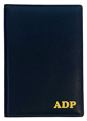 Personalized Monogrammed Navy Leather RFID Passport Wallet (Monogrammed Passport Cover)