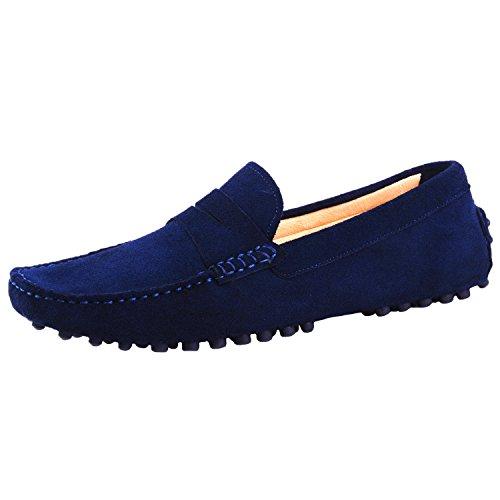 Driving Slipper Loafer on Softsole Men's Shoes Slip Santimon Moccasin Darkblue Leather TIwqZp