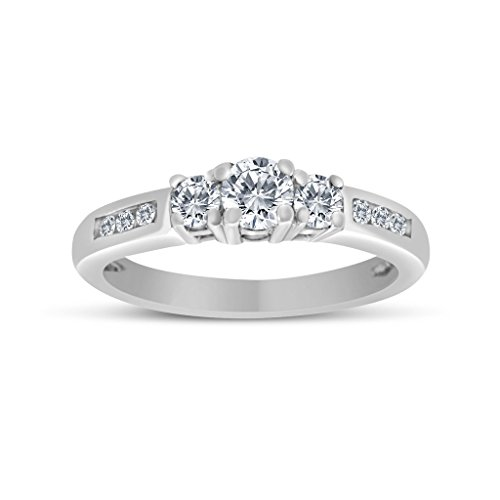 (1/2ctw Diamond Three Stone Ring With Side Stones in 10k White Gold)