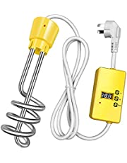 Immersion Heater with Timer, Household High Power Stainless Steel Immersion Electric Water Heater, Bathtub Swimming Pool Floating Spiral Instant Water Heating Rod,Yellow,3000W