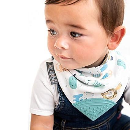 Cheeky Chompers L/ätzchen f/ür Zahnen f/ür Kleinkinder und Babys im Bandana-Stil mit Bei/ßring aus Silikon