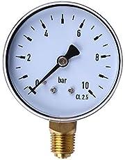 1/4 pulgada NPT Montaje lateral 10 Bar Metal Agua Aceite Compresor de aire Manómetro Manómetro Herramienta de medición de presión (transparente y negro)(JIO-S)