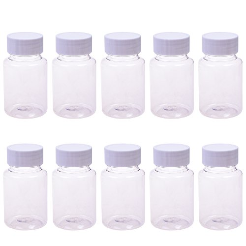 (BCP 10 pcs Plastic Clear Empty Plastic Solid Powder Medicine Pill Cylindrical Chemical Container Reagent Bottle 80ml)