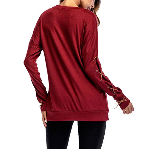 per False Manica Maglia Maglietta Casuale Camicetta Tops Donna Eleganti Suede Tunica Loose Shirt Lunga Fit Rosso T Camicia PqtZOw