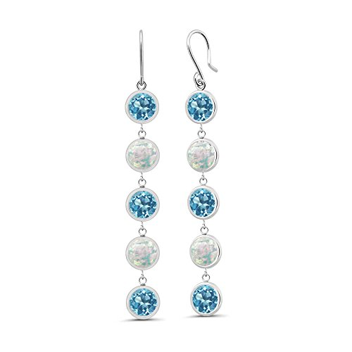 Gem Stone King 3.30 Ct Round Swiss Blue Topaz White Simulated Opal 925 Sterling Silver Earrings ()