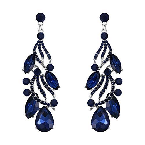 (Flyonce Women's Austrian Crystal Wedding Bridal Floral Leaf Teardrop Chandelier Dangle Earrings Blue)