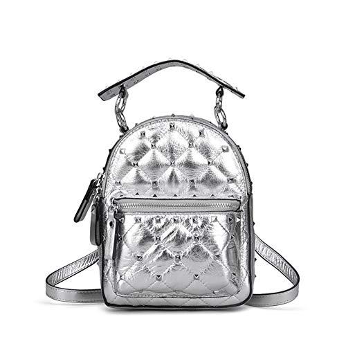 À De À Multi Voyage Fonction Sac Mode Sac Sac De Dos De Sac À Femmes Cuir Mini Bag À Dos De Main Silver Diamant Clouté Dos zndw6x