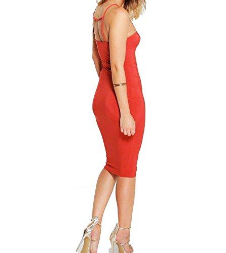 Strappy 18 Cross size Midi Sexy Plus Dress New Ladies Back Slinky Red Women's 8 Party Bodycon FWnwAgq4xw