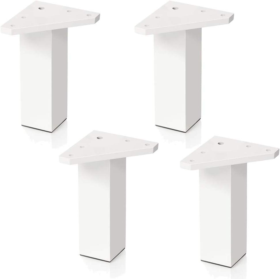 Pata pie cuadrada para Mueble en resina plastica abs ANTICORROSION 40x40mm altura 120mm blanco con Tap/ón contera 4 un