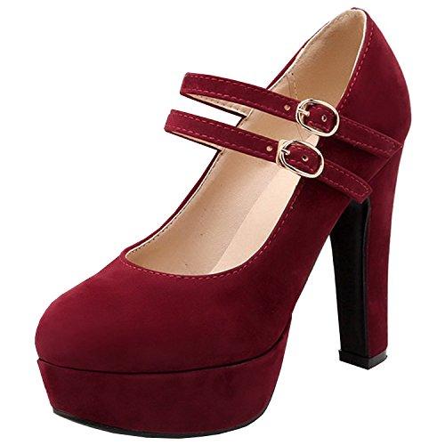 Azbro Mujer Zapato Bomba con Hebilla Tacón Alto Fornido Plataforma con Puntera Redonda Borgoña