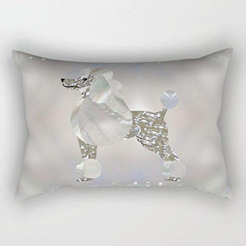 Cellcardphone Blink Silvery Luxury Pearl and Poodle Cushion Covers Throw Pillow Case for Decorating Sofa Car Bedroom Etc Or Gifts Cotton 12x20 - Pearl Poodle
