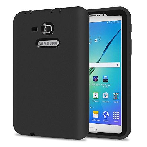 Galaxy Tab 3 Lite 7.0 Case, TKOOFN Shockproof Heavy Duty Rugged Hybrid Silicone Case Cover for Samsung Galaxy Tab 3 7-Inch SM-T110 T111 T113 T116 ,Black+Black (Samsung Tablet Case 3 Black)