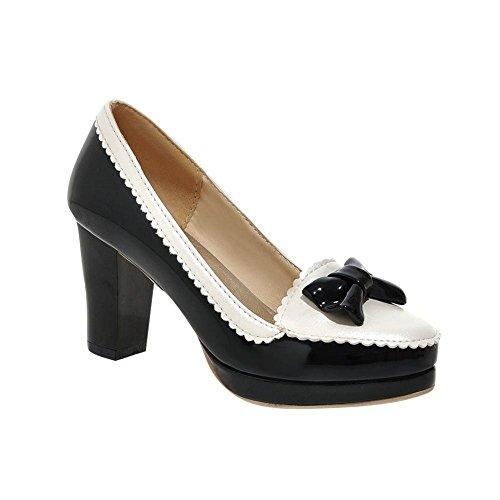 Mee Shoes Damen süß modern bequem mit Schleife Spitzen Mischfarbe Lackleder Plateau Pumps mit hohen Absätzen Schwarz