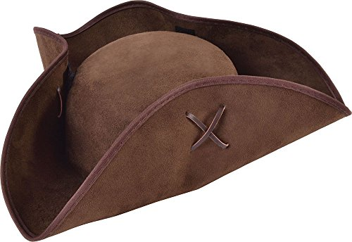 Suede Pirate Hat (Unisex Caribbean Fancy Dress Costume Accessory Pirate Tricorn Brown Suede Fabric)