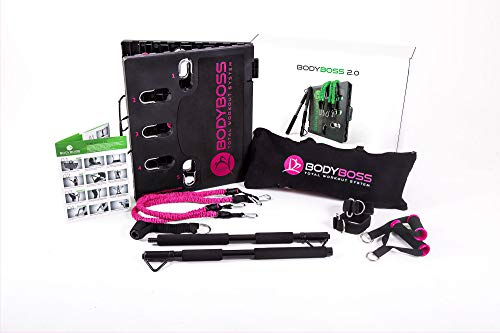 BodyBoss 2.0 – Full Portable Home Gym Workout Package + Resistance Bands – Collapsible Resistance Bar, Handles – Full…