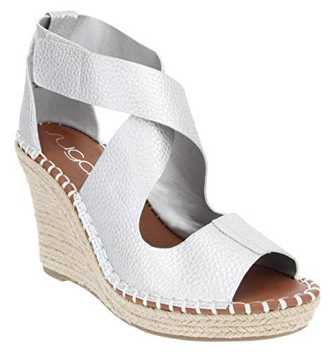 (Sugar Women's Hazee Espadrille Wedge Sandal with Cross Straps and Adjustable Closure 6 Silver Pebbled Metallic)