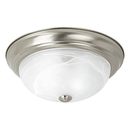 (Sea Gull Lighting 75943-962 Windgate Three-Light Flush Mount Ceiling Light with Alabaster Glass Shade, Brushed Nickel Finish)