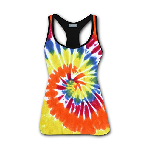 qingqingdel Spiral Tie Dye 3D Custom Sleeveless T-Shirt Top Vest Women (Custom Sleeveless)