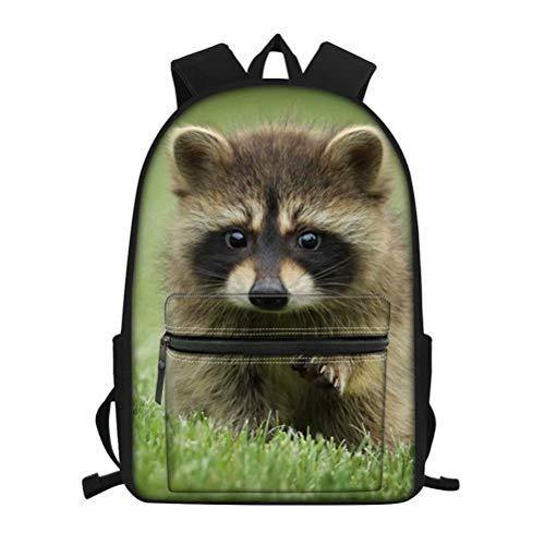 FOR U DESIGNS Large Capacity Children School Backpack Bookbags Cute 3D Raccoon Printed Knapsack