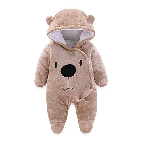 Fairy Baby Newborn Baby Warm Bear Footie Romper Thick Fleece Jumpsuit Winter Outerwear Size 0-3M (Brown) (Fleece Romper Suit)
