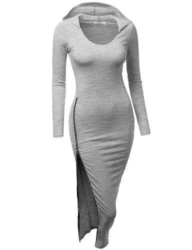Doublju Des Femmes De Robe Ajustée Avec Fermeture Éclair Côté Sexy Points Kwop045_gray