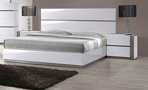 Milan Valencia Gloss White/Grey Size Bed, Queen - Milan Platform