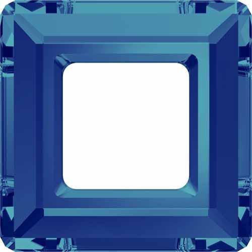 4439 Swarovski Fancy Stones Square Ring   Crystal Bermuda Blue   14mm - Pack of 1   Small & Wholesale Packs   Free (Ab Swarovski Square Beads)