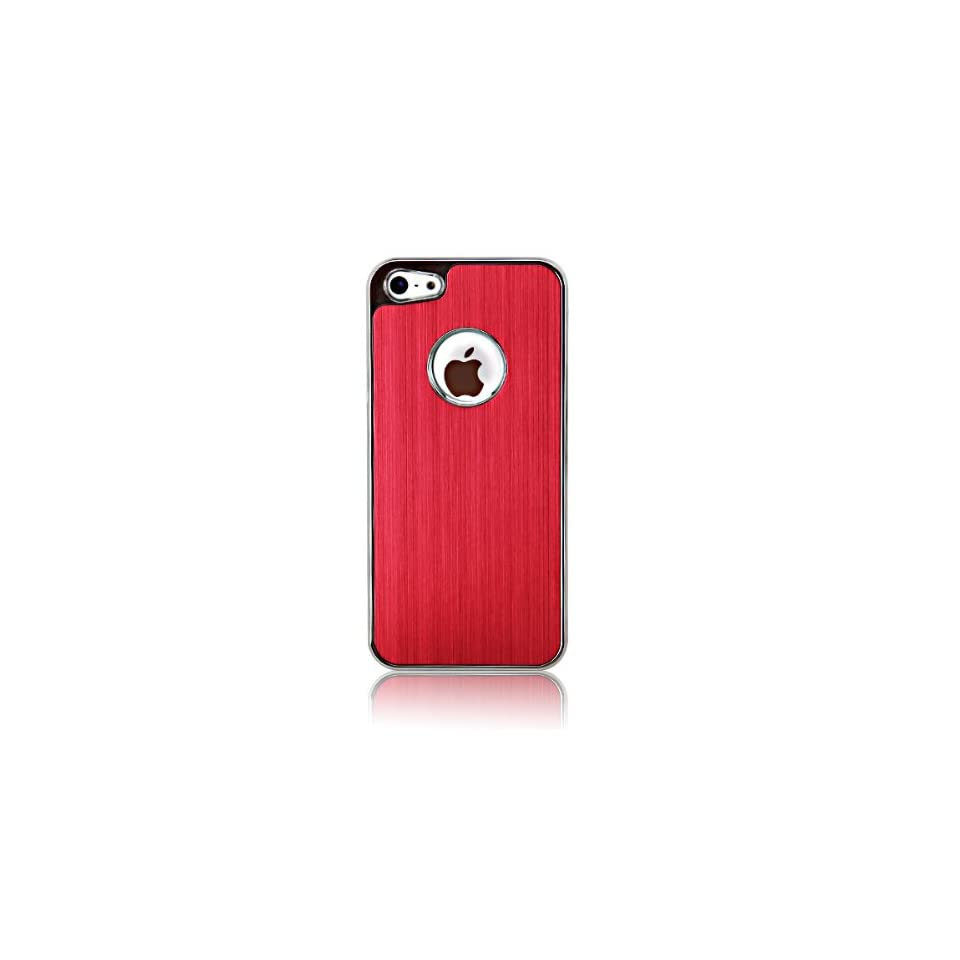 Luxury Brushed Aluminum Chrome Skin Hard Case Cover Compatible with iPhone5, Come with Stylus & Screen Protector& Microfiber Cloth as a Free Gifts for You (Red) Cell Phones & Accessories
