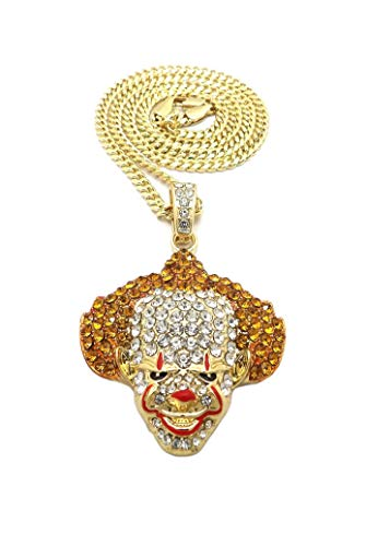 (BLINGFACTORY Hip Hop Iced Out Gold Plated Crazy Clown Pendant & 24